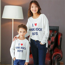 2016new Autumn  fashion print  heart children long sleeve T-shirt Water drop hole style clothing mother and children clothing