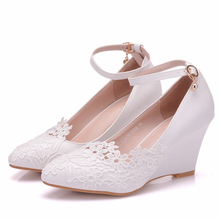 Woman Shoes White Butterfly Lace Flowers Pumps Wedding Shoes 8cm Wedges Heel Fashion Female Ankle Strap Shoes XY-A0305 цена 2017
