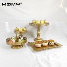 4 PCS Metal Cupcake Gold White Pink Iron Wedding Crystal Weeding Cake Stand