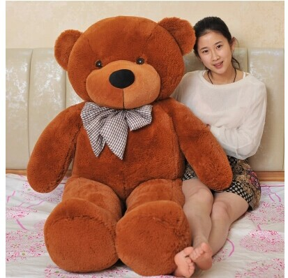 stuffed animal lovely teddy bear 140cm dark brown bear plush toy soft doll throw pillow gift w3378 2pcs pair lovely couple teddy bear with cloth dress plush toy stuffed baby doll girls