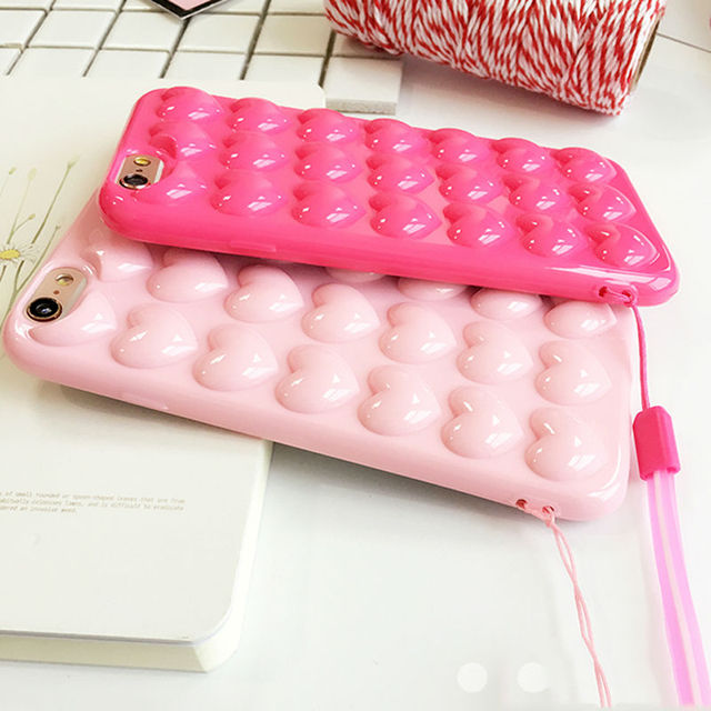 3D Bubble Heart Silicon iPhone Case
