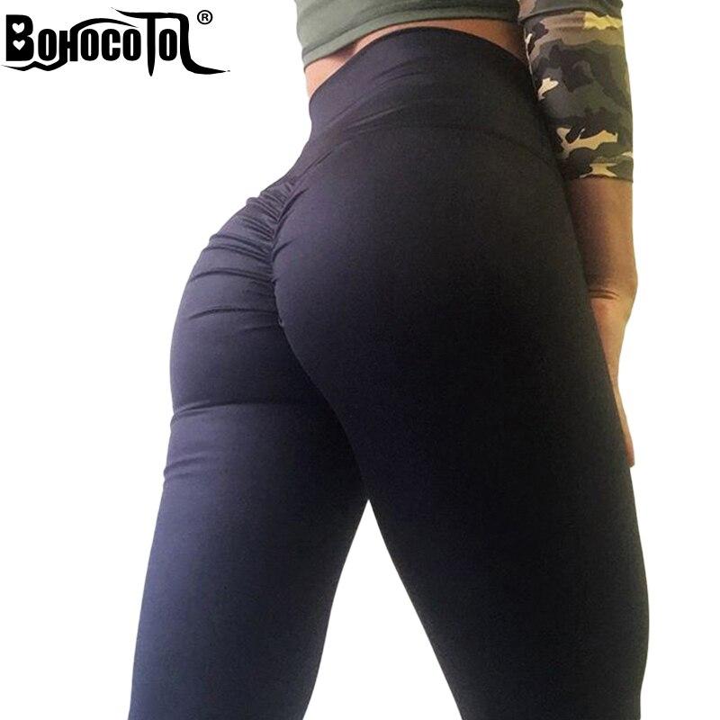 BOHOCOTOL Push Up High Waist Leggings Women Fitness Clothes Slim Ruched Bodybuilding Women's Pants Athleisure Female Leggings
