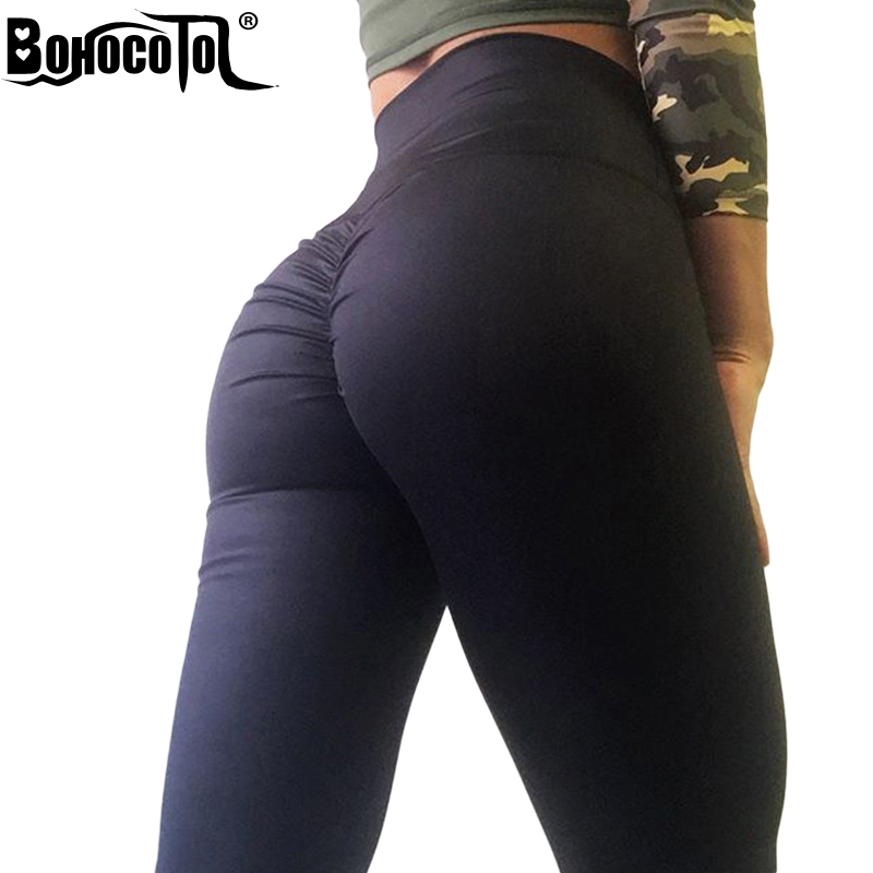 BOHOCOTOL Push up high waist leggings women fitness clothes slim ruched bodybuilding women's pants athleisure female leggings