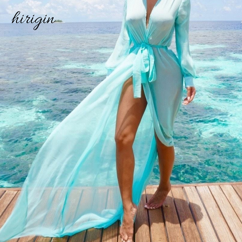 HIRIGIN Brand Chiffon Cover Up Womens Chiffon Shirt Cardigan Long Beach Cover Up Dress Tops
