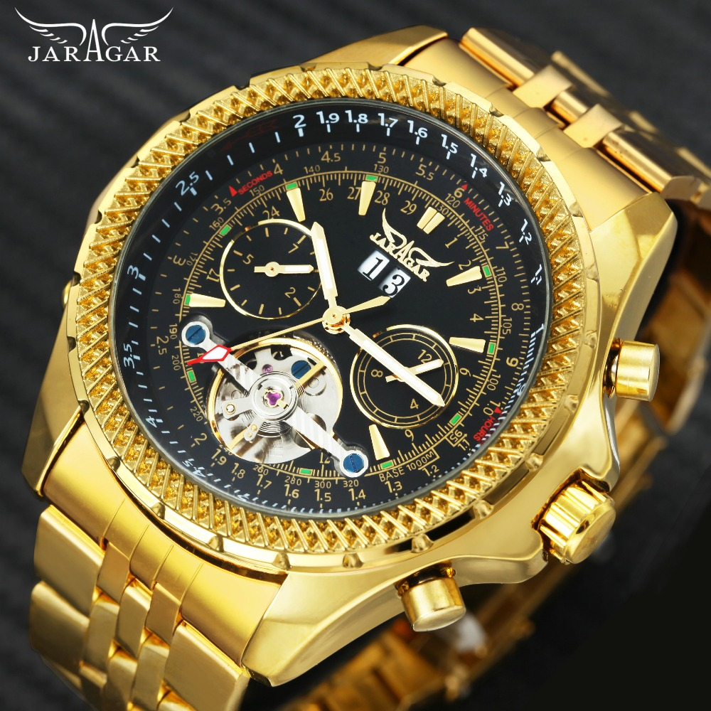 Top Brand Luxury Golden Automatic Men Watches 2018 JARAGAR Tourbillon Small Sub-dials Display Mechanical Wristwatches Steel Band jaragar top brand luxury auto men watches tourbillon 2 small working sub dials full steel 2018 new golden mechanical wristwatch