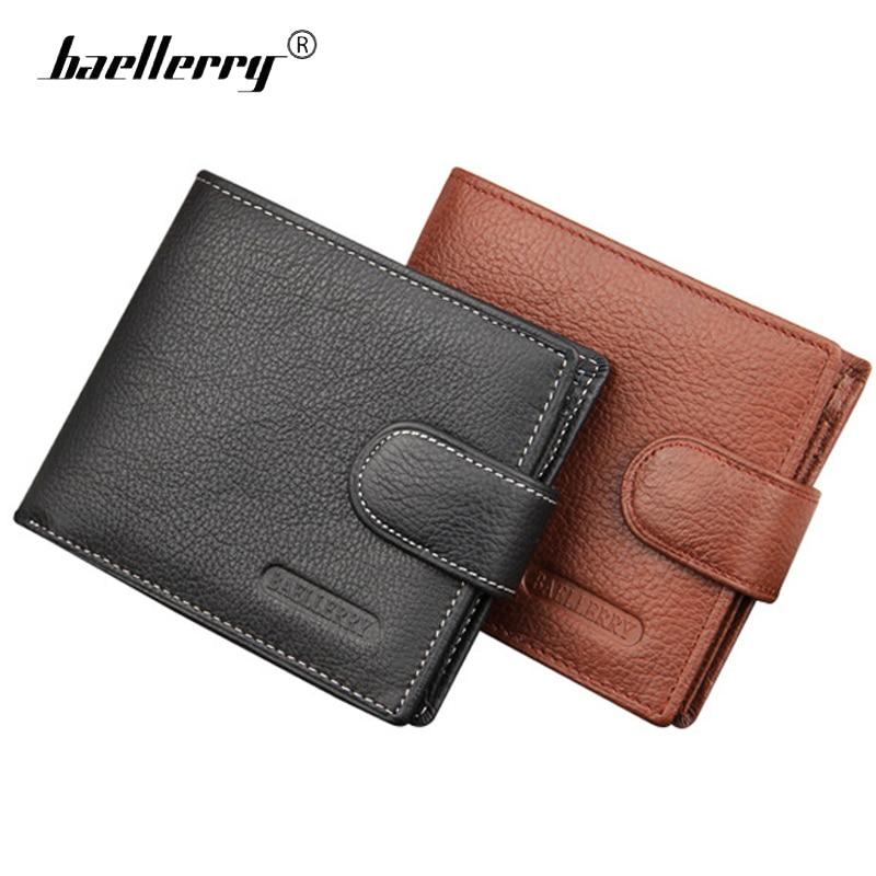 Baellerry 100% Genuine Leather Men Wallets Male Small Clutch Purse Man Short Wallet Zipper Coin Holder Mini Card Purses Walet
