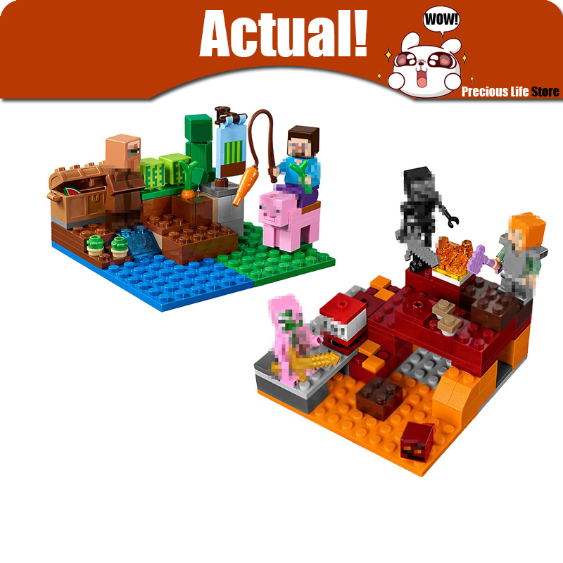 LEPIN The Melon Farm Nether Fight Minecraft My World Building Block Bricks Toy For Children Compatible legoINGly 21138 21139