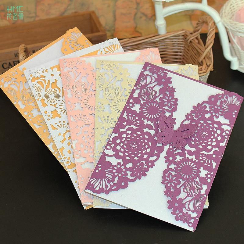 Romantic 10pcs Hollow Laser Cut Butterfly Wedding Invitation Cards ...