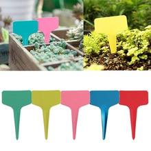 100pcs/set Plastic T-type Tags Markers Nursery Reusable Gardening Labels Flower Tag  Label Marker Plant Garden Decor