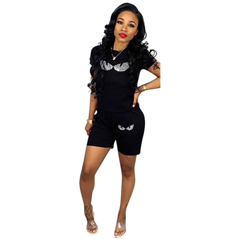 Women Short Sleeve shorts Two Piece set Sequin Eye Print Casual Loose Tracksuit Streetwear Summer Fashion Sweatshirt 2 Piece Set