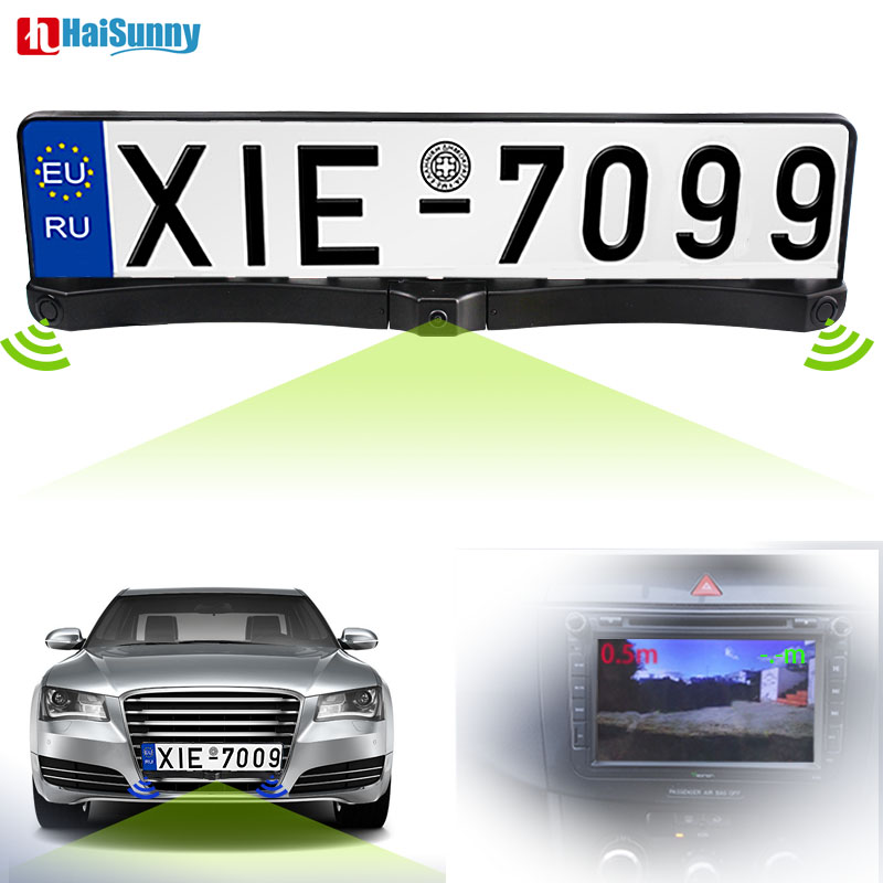 HaiSunny Auto Front Parking Parktronics Sensor Radar CCD Europe Russia License Plate Frame Car Front Camera