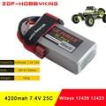 ZDF Full Capacity Rc Lipo Battery 2S 7.4V 4200mah 25C Max 50C for Wltoys 12428 12423 1:12 RC Car Spare parts