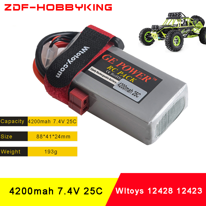 ZDF Full Capacity Rc Lipo Battery 2S 7.4V 4200mah 25C Max 50C for Wltoys 12428 12423 1:12 RC Car Spare parts