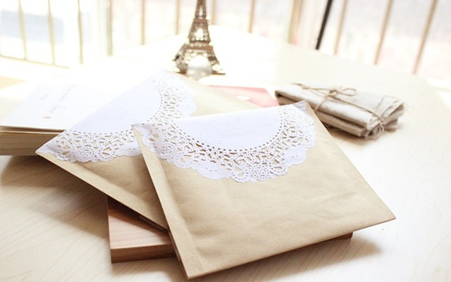 Free Shipping Wholesale 50pcs/Lot 15x20cm Kraft Paper Lace Bubble Envelope Jewelry Packaging Bag Zakka Retro Packaging