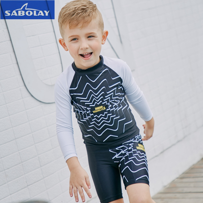e1af12cdbe7af SABOLAY Children Long Sleeved Swimwear Diving Sunscreen UPF 50+ Wetsuit  Quick drying UV Protection Beach Surfing Kids Swim Suit
