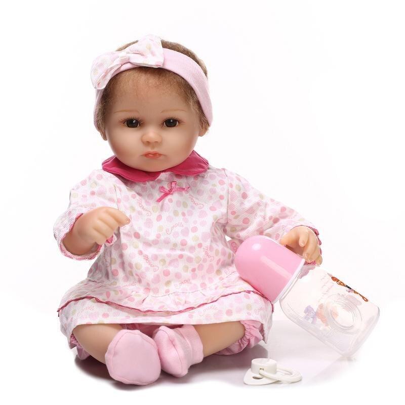 [SGDOLL] 2017 New 17 Lifelike Reborn Brown Eyes Girl Dolls Silicone Vinyl Handmade Baby Kids Gift  Toy 16070604 футболка toy machine leopard brown