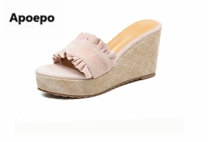 Apoepo brand pink black sweet ruffles gladiator shoes women summer platform sandals ladies wedges high heels slippers for girls