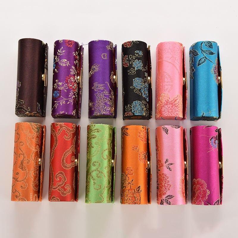 1Pc Hot Portable Women Lipstick Case Retro Embroidered Brocade Flower Design Box With Mirror Fashion Jewelry Holder Random Color