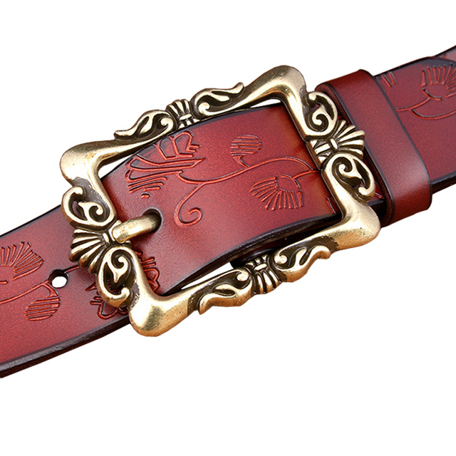 Hot Sale Genuine leather belt woman New Fashion Wide Women belts High quality Floral Buckle Cow skin strap female Jeans Girdle