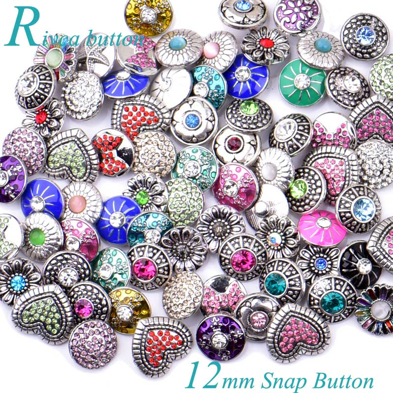 50pcs/lot Rivca Mix Style 12mm Snap Buttons Jewelry Fit Charm Bracelets & Bangles Pulsera For women man Ladies Shining Gift B021 image