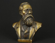 China Pure Bronze Communist Friedrich Von Engels Bust Statue