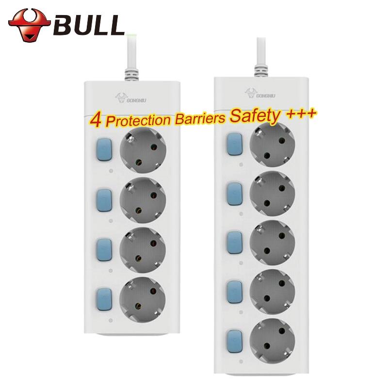 Bull ue plug power strip 3 m 10a 250 v 2500 w tomada elétrica ue plug extensão tomada protetor contra surtos tira de energia da ue