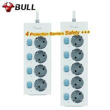 Bull ЕС Plug мощность полосы 3 м 10A 250 в 2500 Вт электрическая розетка ЕС Plug удлинитель стабилизатор напряжения ЕС мощность полосы