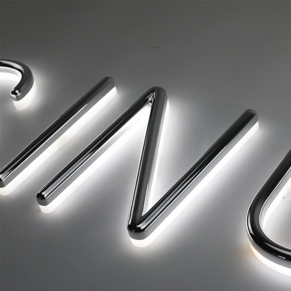 Outdoor Durable  Vacuum Coating Silver Acrylic Shop Front Halo Lit Letter Sign