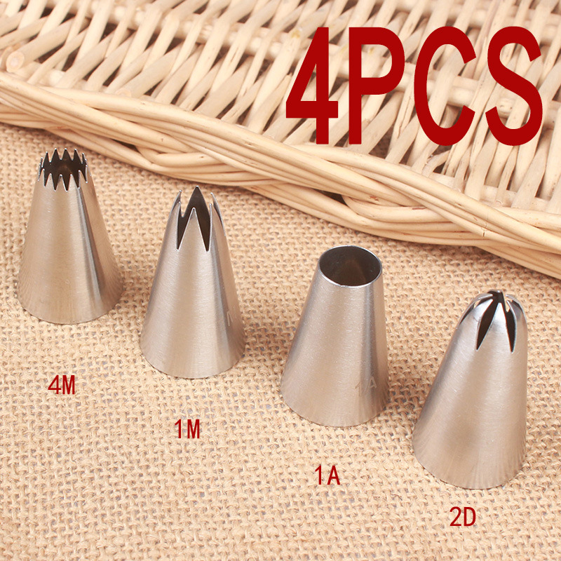 #4M#1M#1A#2D Stainless Steel Pastry Nozzle Set 4pcs Icing Piping Nozzle Baking Pastry Tips Cupcake Cake Decorating Tools
