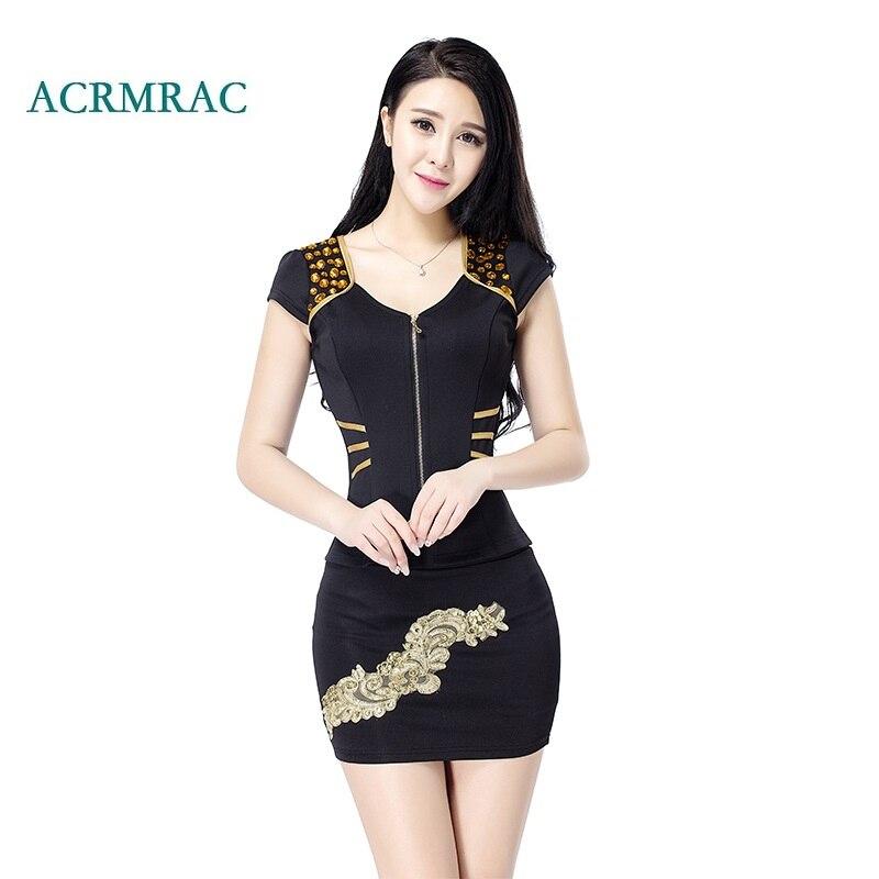 ACRMRAC Women's Suits The New Summer Short Slim Zipper Rivet Short Sleeve Jacket Skirt Commerce OL Formal Skirt Suits