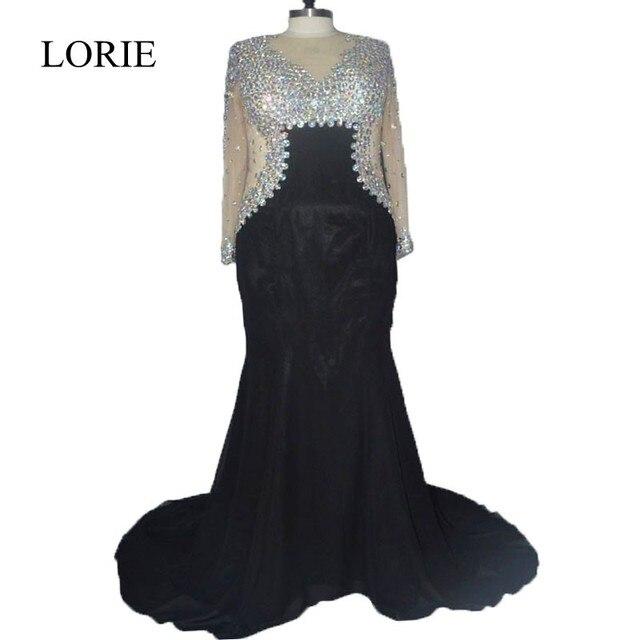 Plus Size Black Evening Dresses 2017 Abendkleider Rhinestone Mermaid ...