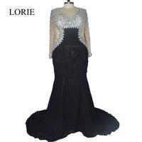 Plus Size Black Evening Dresses 2017 Abendkleider Rhinestone Mermaid Prom Dresses Long Sleeve Formal Party Gowns