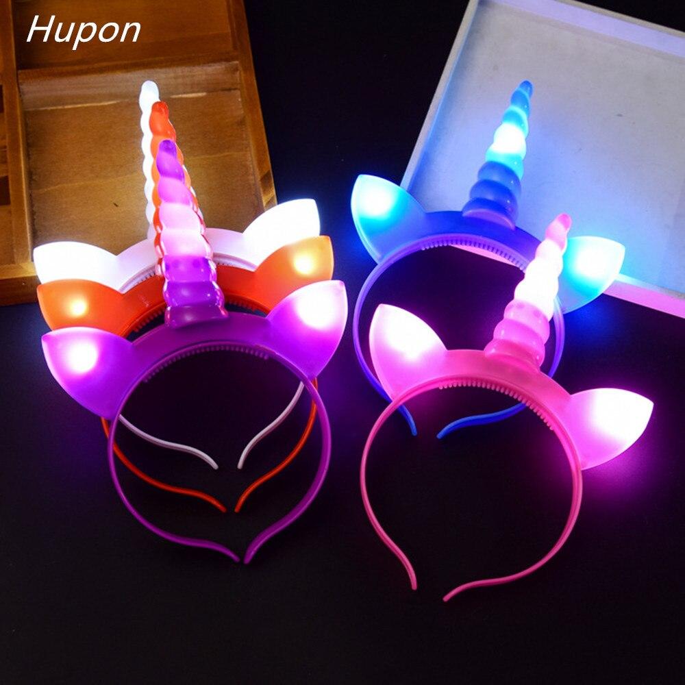 1pc LED Unicorn Headband Unicorn Horn Hairband DIY Kids Birthday Party Decorations Baby Girl Headbands Growing Party Supplies
