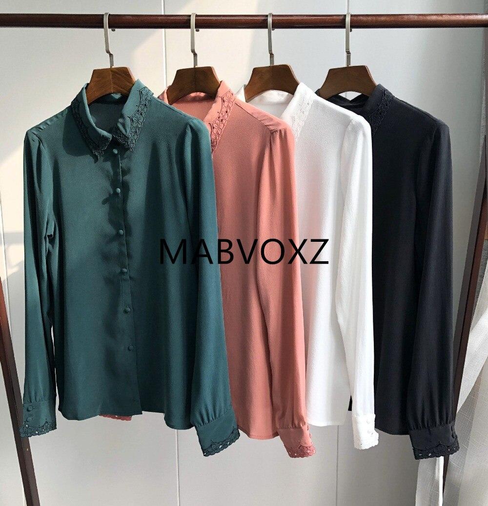 2019 새 여성 스위트 블라우스 실크 긴 소매 자수 프렌치 스타일 chemise 셔츠-에서블라우스 & 셔츠부터 여성 의류 의  그룹 1