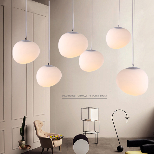 E27Nordic Globe Pendant Lights White Glass Ball Pendant Lamp Lustre  Suspension Kitchen Light Fixture Lighting Lamparas