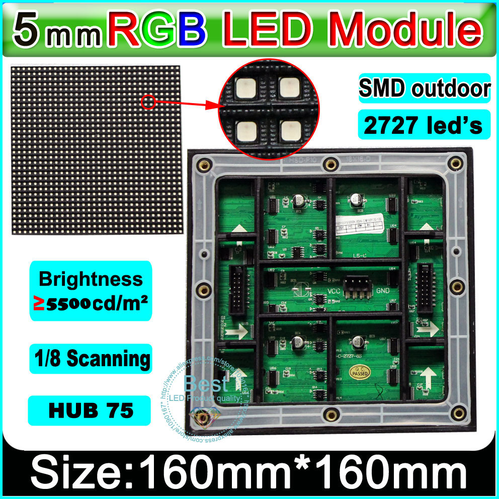 Custom Edition Full Color Display SMD 3 In1 P5 LED Module,1/8 Scan, 160*160mm ; Waterproof  RGB Panel