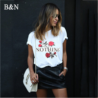 B N Nothing Letter Print T Shirt Casual Short Sleeve Women Summer T Shirt Rose Harajuku