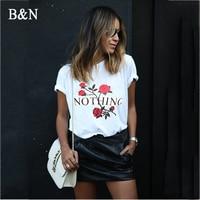 B N Nothing Letter Print T Shirt Casual Short Sleeve Women Summer T Shirt Rose Harajuku