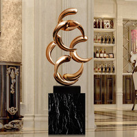 Modern Sculpture Abstract Sculpture stainless steel Metal Sculpture Iron Home Decor Indoor Outdoor Decor With Black Marble Base