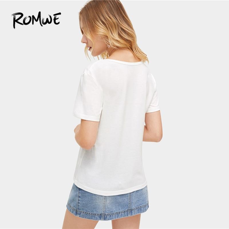 912586169 ROMWE de encaje gargantilla cuello Tee 2019 blanco cómodo de verano de  manga corta Tops glamoroso ...