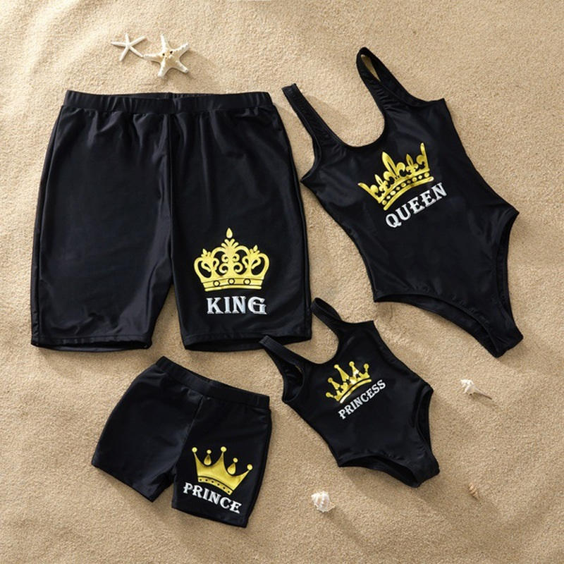 Family Matching Swimsuit Queen Princess Swimwear Leaf Print Beachwear Mommy And Me Swimsuit Beach Shorts For Kids Men