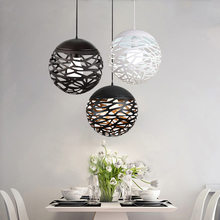 Luminária suspensa com lâmpada de led, moderna, vazada, de metal, para sala de estar, quarto, loja, bar, iluminação contemporânea, decoração
