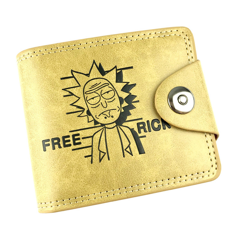 New Design Rick and Morty Anime Khaki Wallet PU Leather Short Folding Purse Card Holder of Button Money Bag 2 Type rick and morty pu faux leather bifold wallet dft 10049