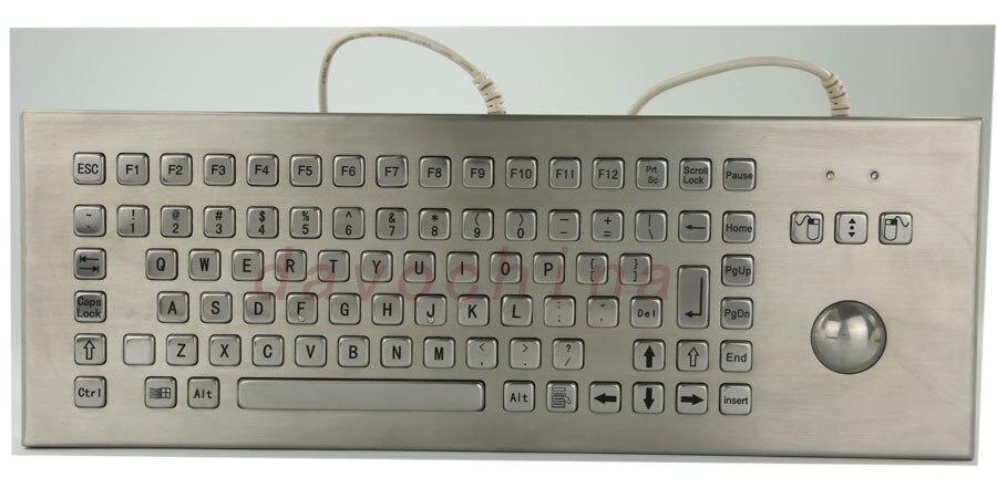 Стол Металл киоск клавиатура с трекболом Desktop 86 Ключи Водонепроницаемый металла клавиатура с встроенным трекболом
