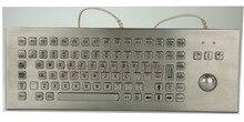 Desk Metal Kiosk Keyboard with Trackball Desktop 86 Keys Waterproof Metal Keyboard With Integrated Trackball