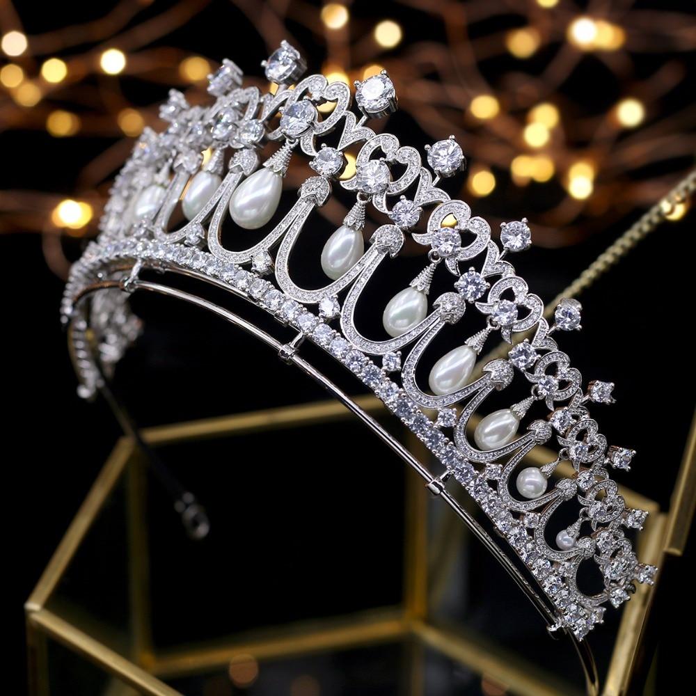 купить Asnora New Design Crystals and Peals Zircon Tiaras de noiva Wedding Tiara Bridal Crowns Sweet 16 Party Princess Tiaras недорого