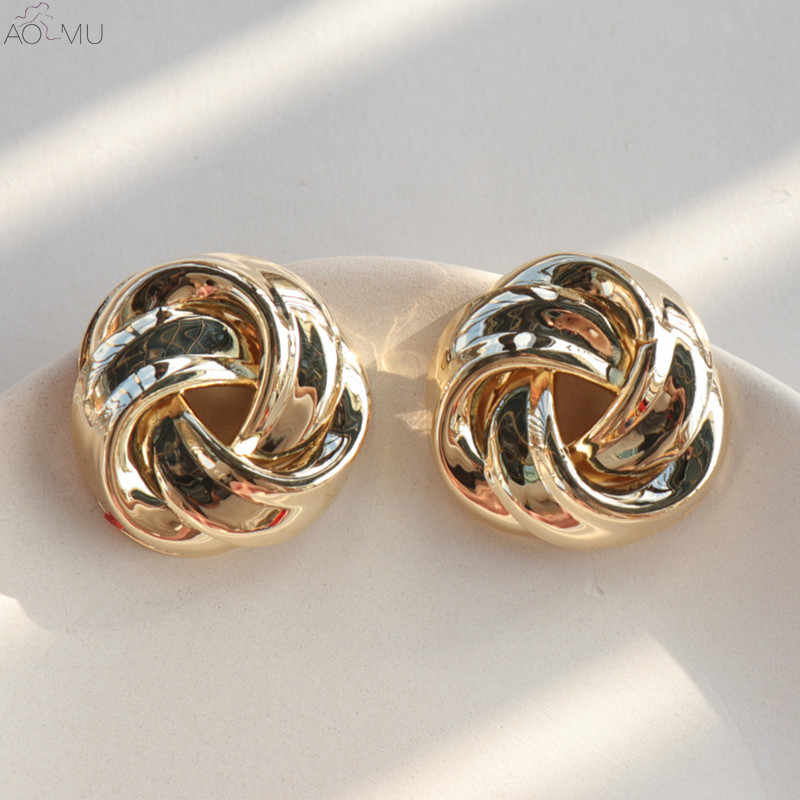 AOMU Korea Fashion Punk Twisted Fold Flowers Shaped Gold Metal Geometric Exaggeratedl Big Stud Earrings for Woman Girl