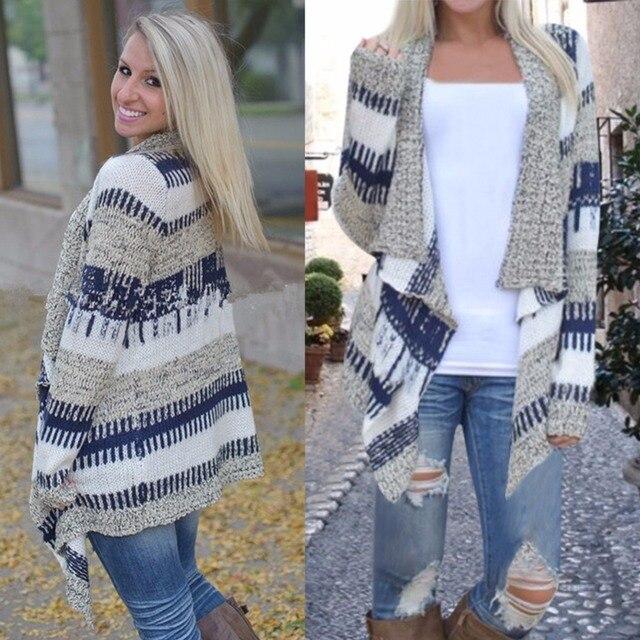 Mode Volledige Mouw Hand Gebreide Gestreepte Vest Vrouwen Trui V