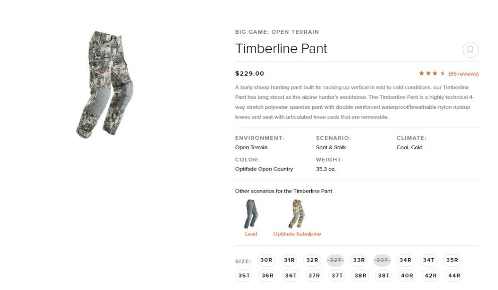 2018 брюки sitka Temberline