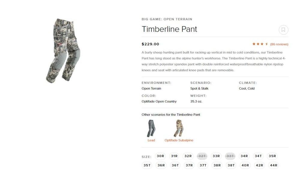 2018 sitka Temberline pantalon